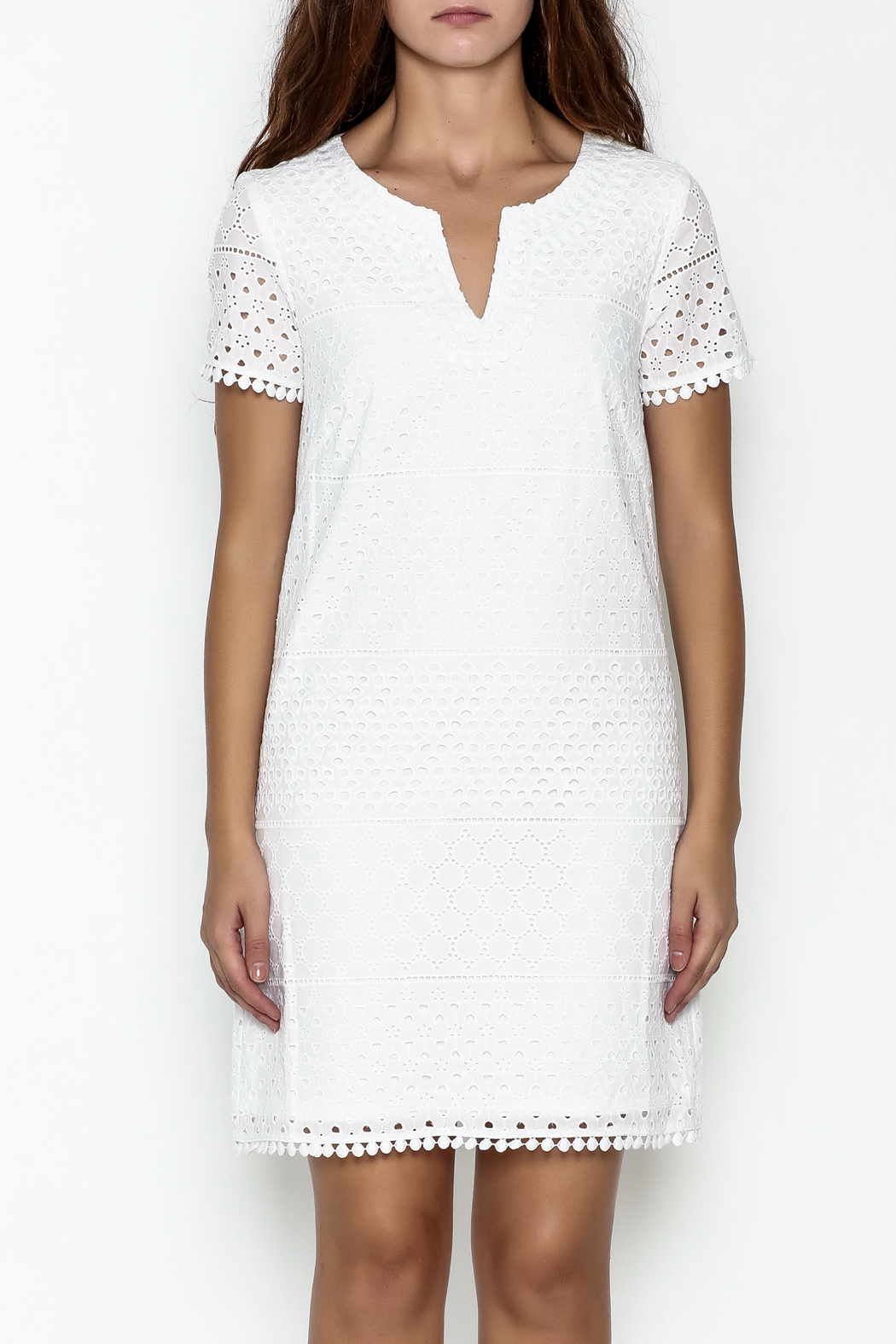 Jade Eyelet Cap Sleeve Dress - Front Full Image
