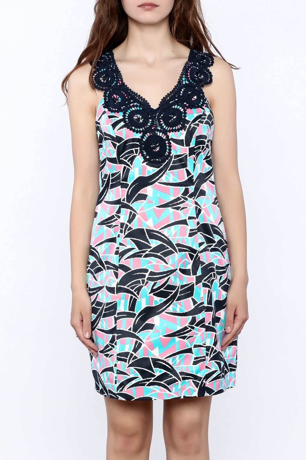 Jade Abstract Sleeveless Dress - Side Cropped Image
