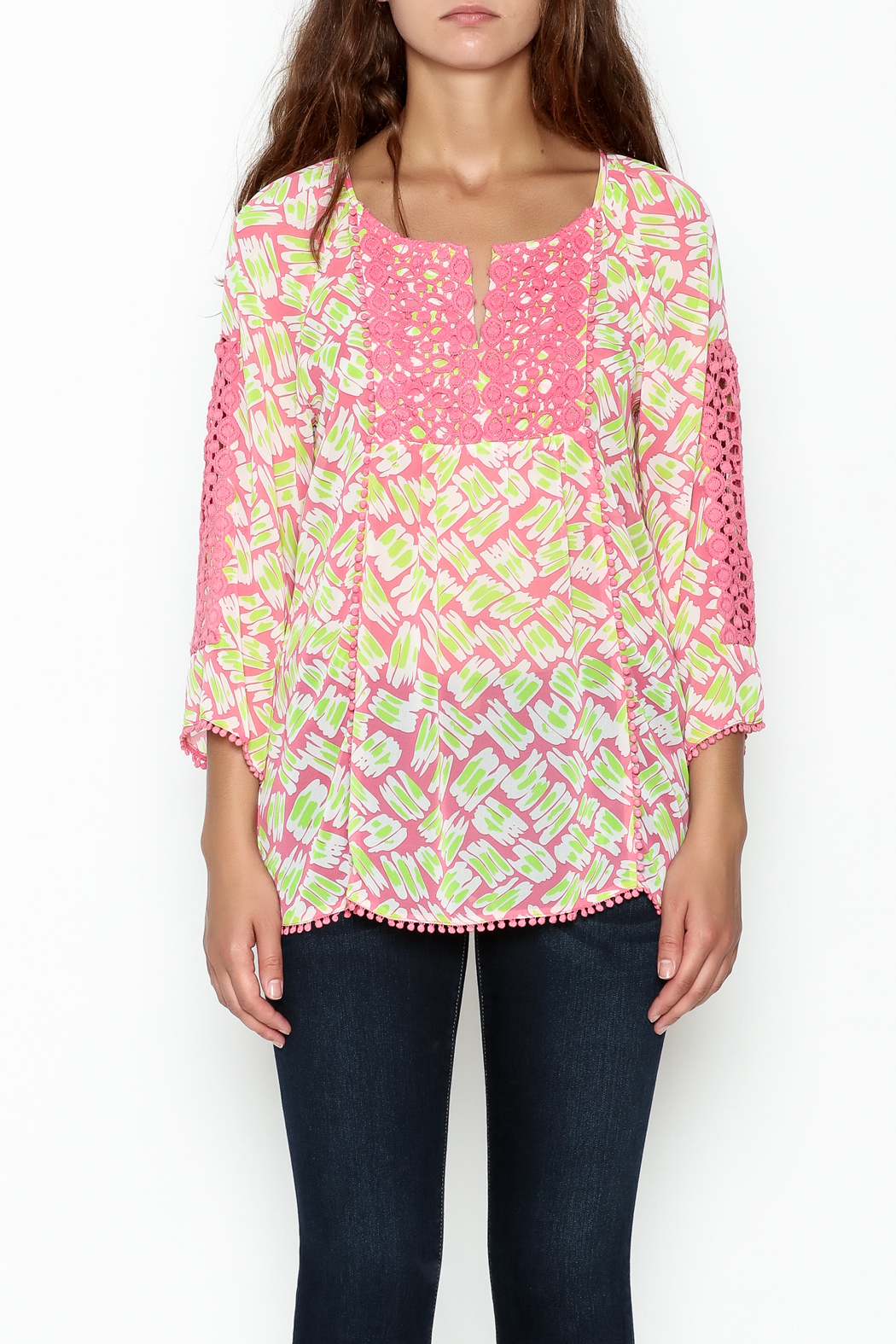 Jade Lace Trim Blouse - Front Full Image