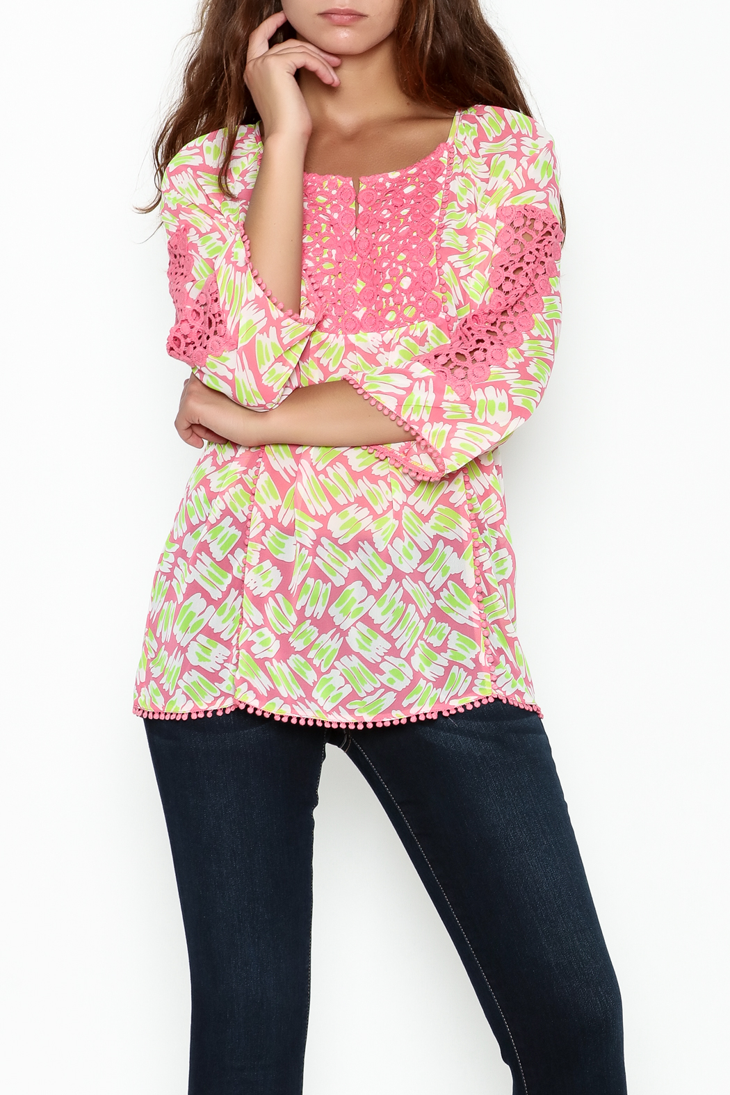 Jade Lace Trim Blouse - Main Image