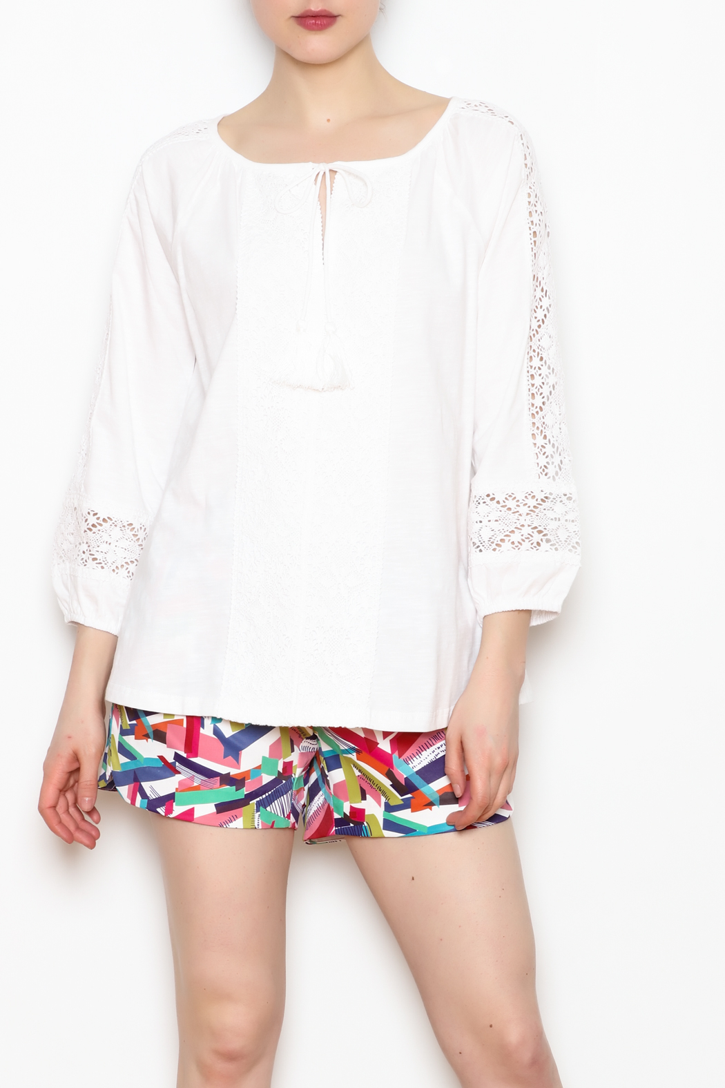 Jade Lace Trim Top - Front Cropped Image