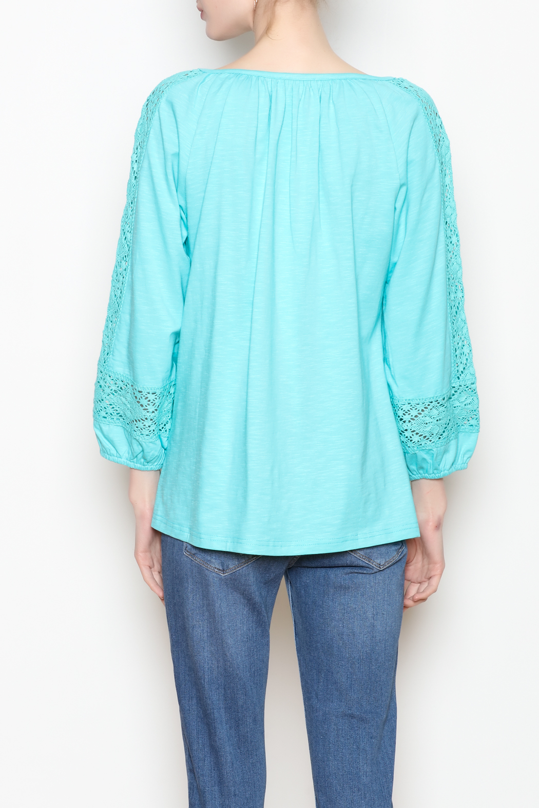 Jade Lace Trim Top - Back Cropped Image