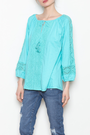 Jade Lace Trim Top - Front cropped