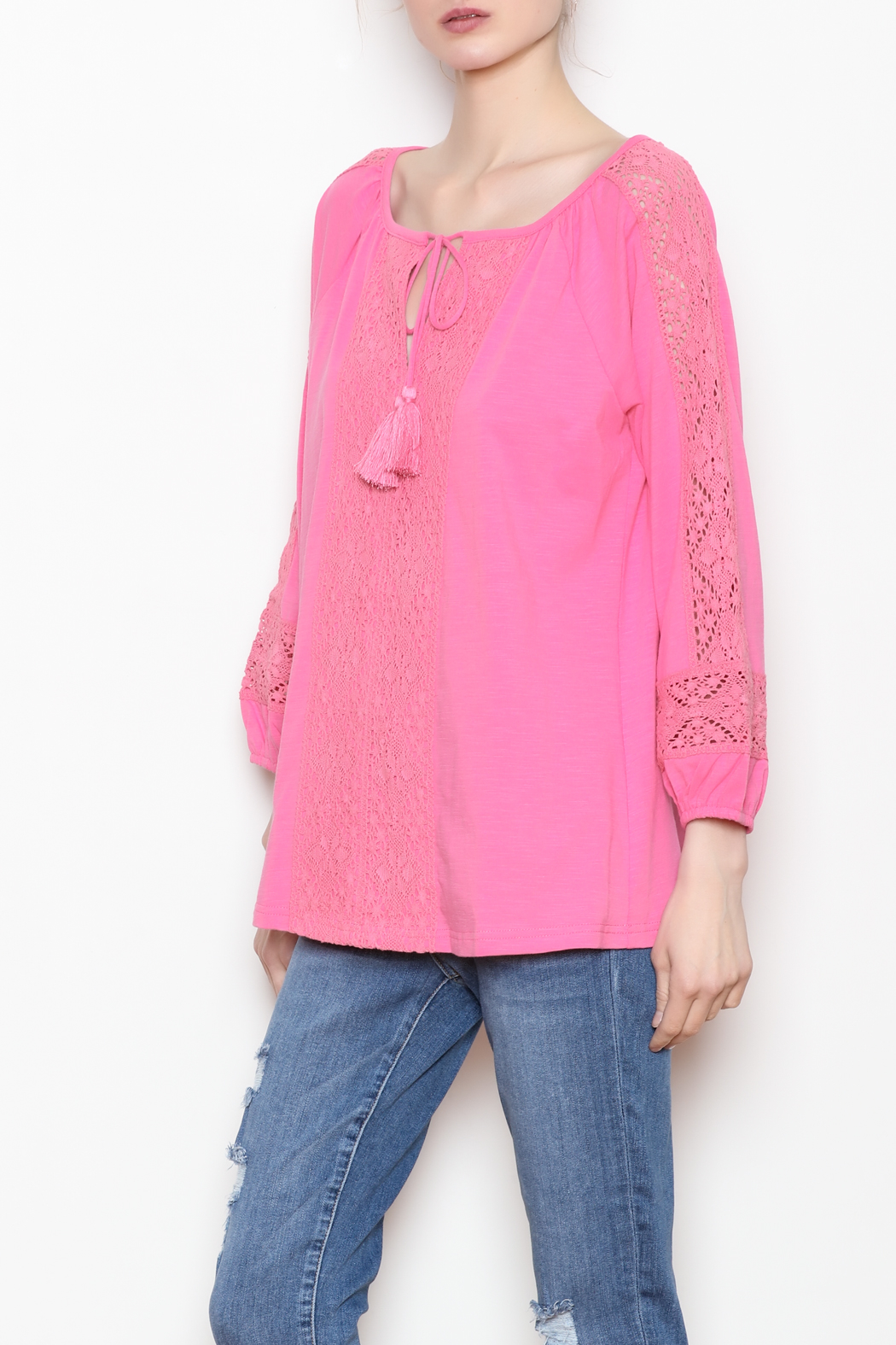 Jade Lace Trim Top - Front Full Image