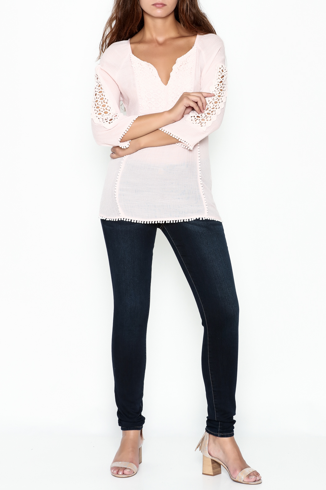 Jade Lace Trim Top - Side Cropped Image