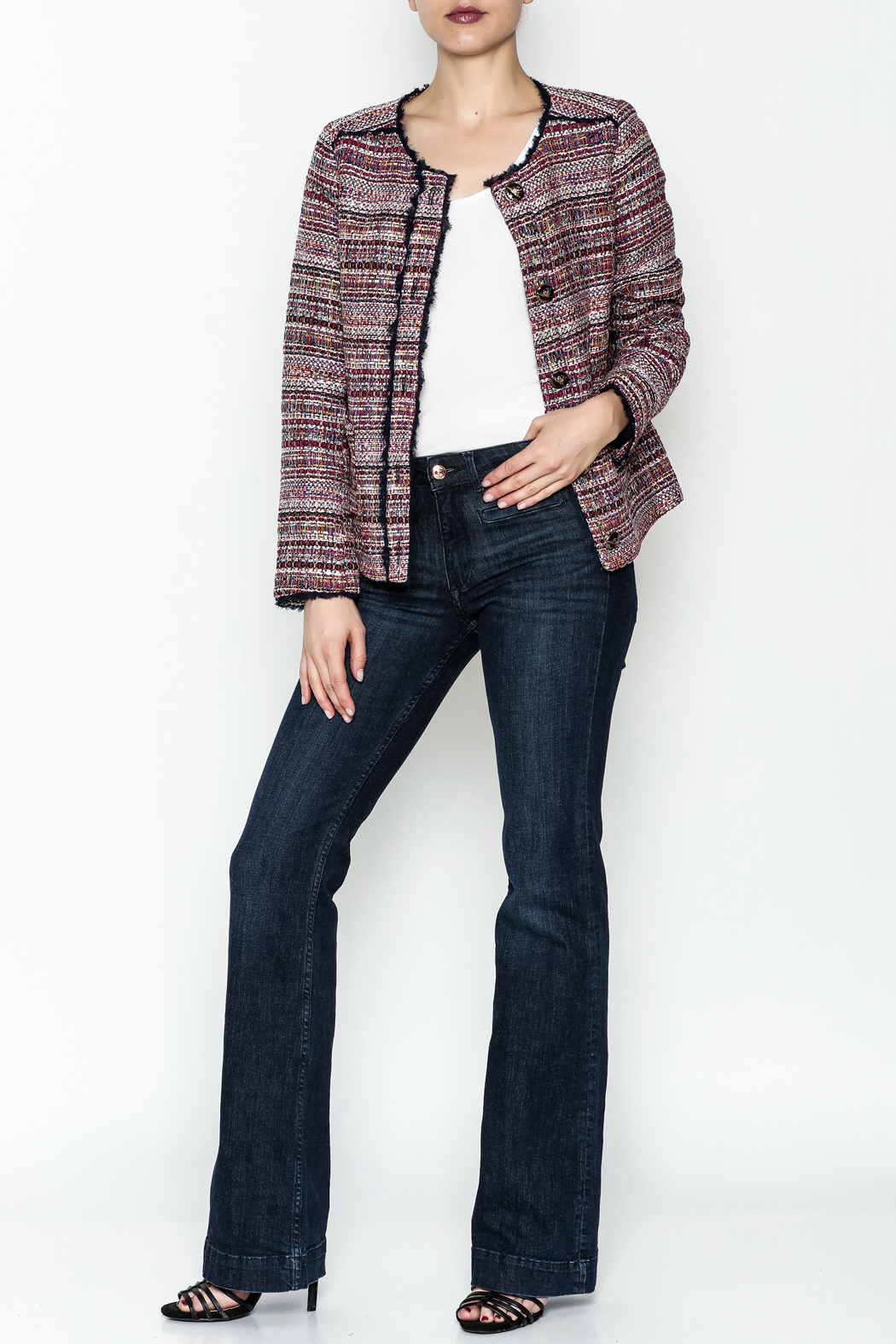 Jade Multi Tweed Jacket - Side Cropped Image