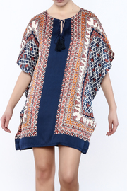 Jade Navy Flutter Sleeve Tunic - Front cropped
