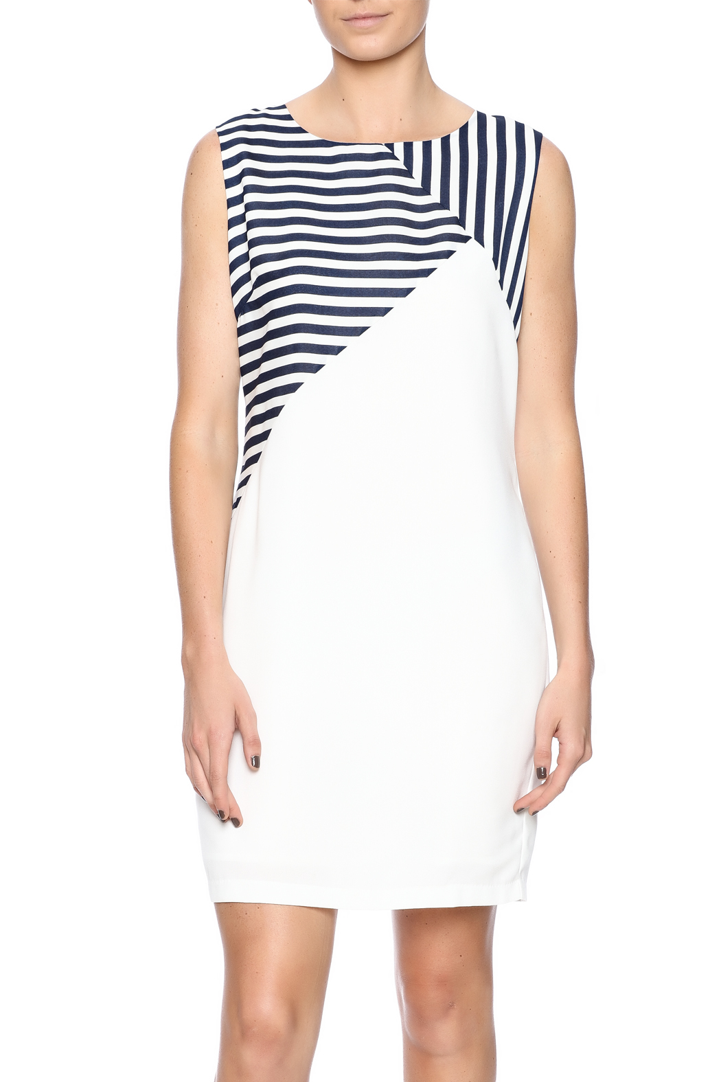 Jade Navy Striped Dress - Front Cropped Image