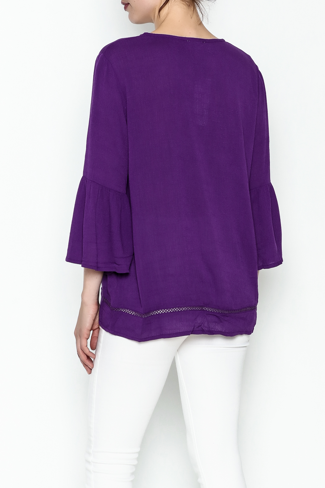 Jade Paisley Embrodered Top - Back Cropped Image