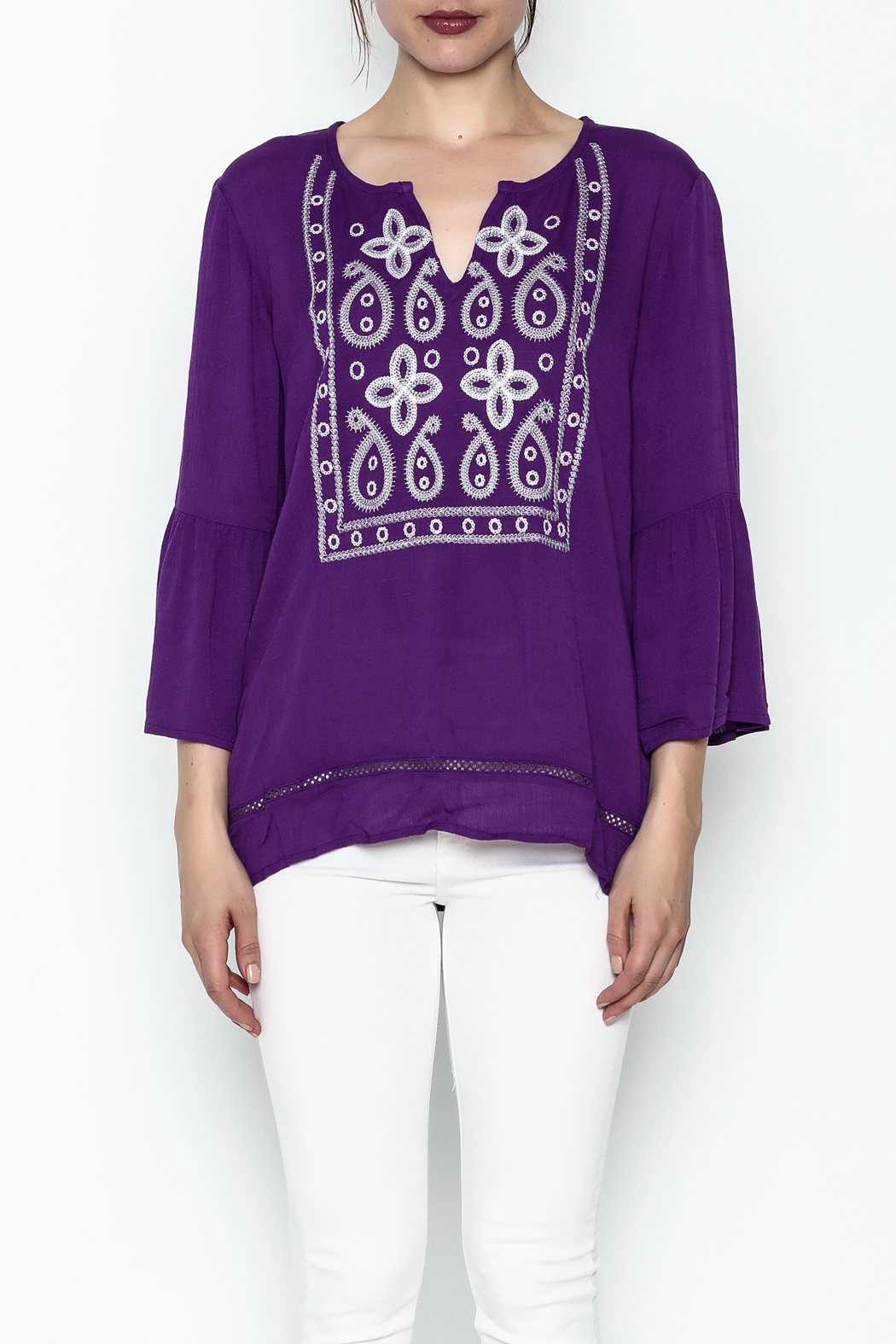 Jade Paisley Embrodered Top - Front Full Image