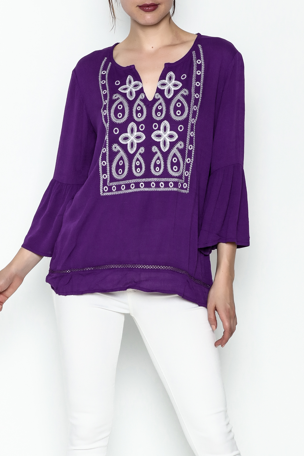 Jade Paisley Embrodered Top - Main Image