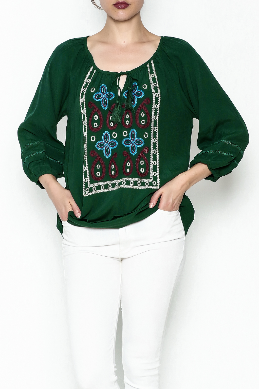 Jade Paisley Embroderied Top - Front Cropped Image