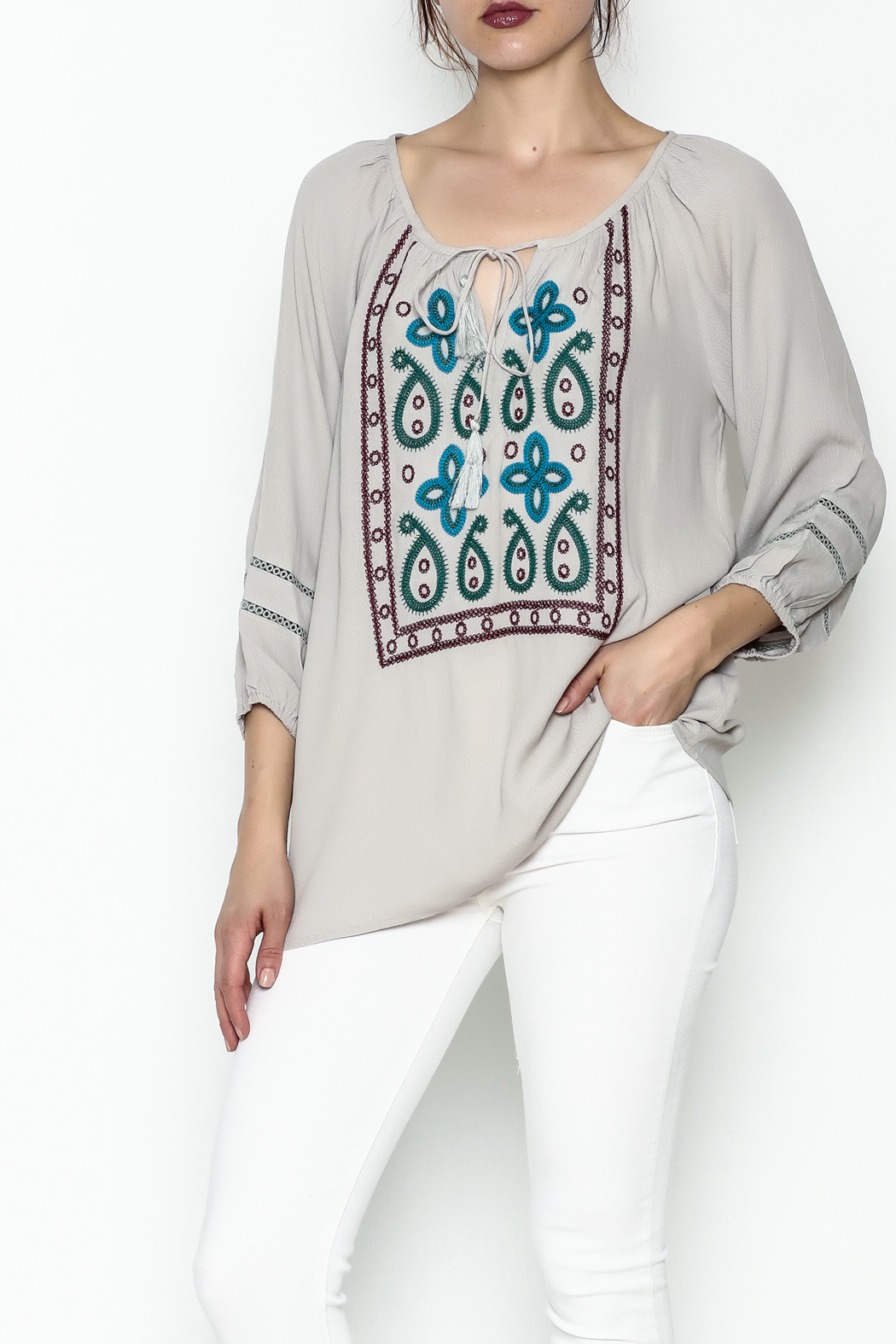 Jade Paisley Embroderied Top - Main Image