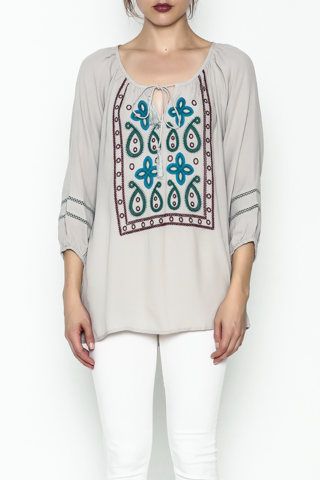 Jade Paisley Embroderied Top - Front Full Image