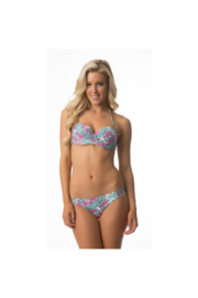 Beach Joy Bikini Jade/Pink Geometric Print Two-Piece Swimsuit - Front cropped