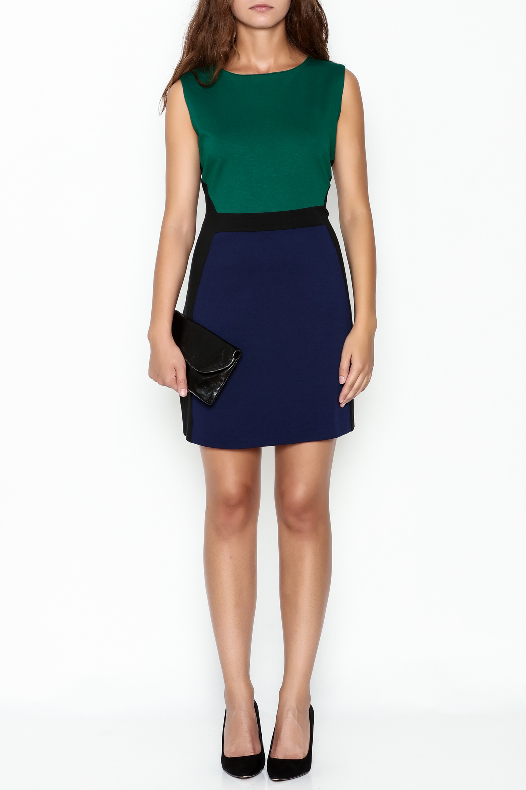 Jade Ponte Knit Dress - Front Full Image