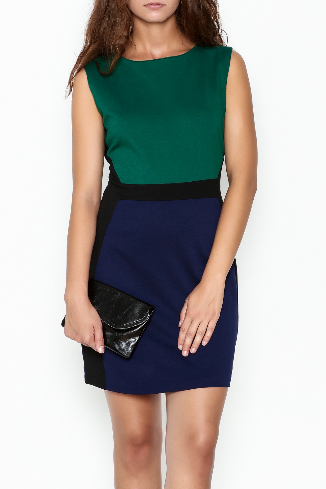 Jade Ponte Knit Dress - Front Cropped Image