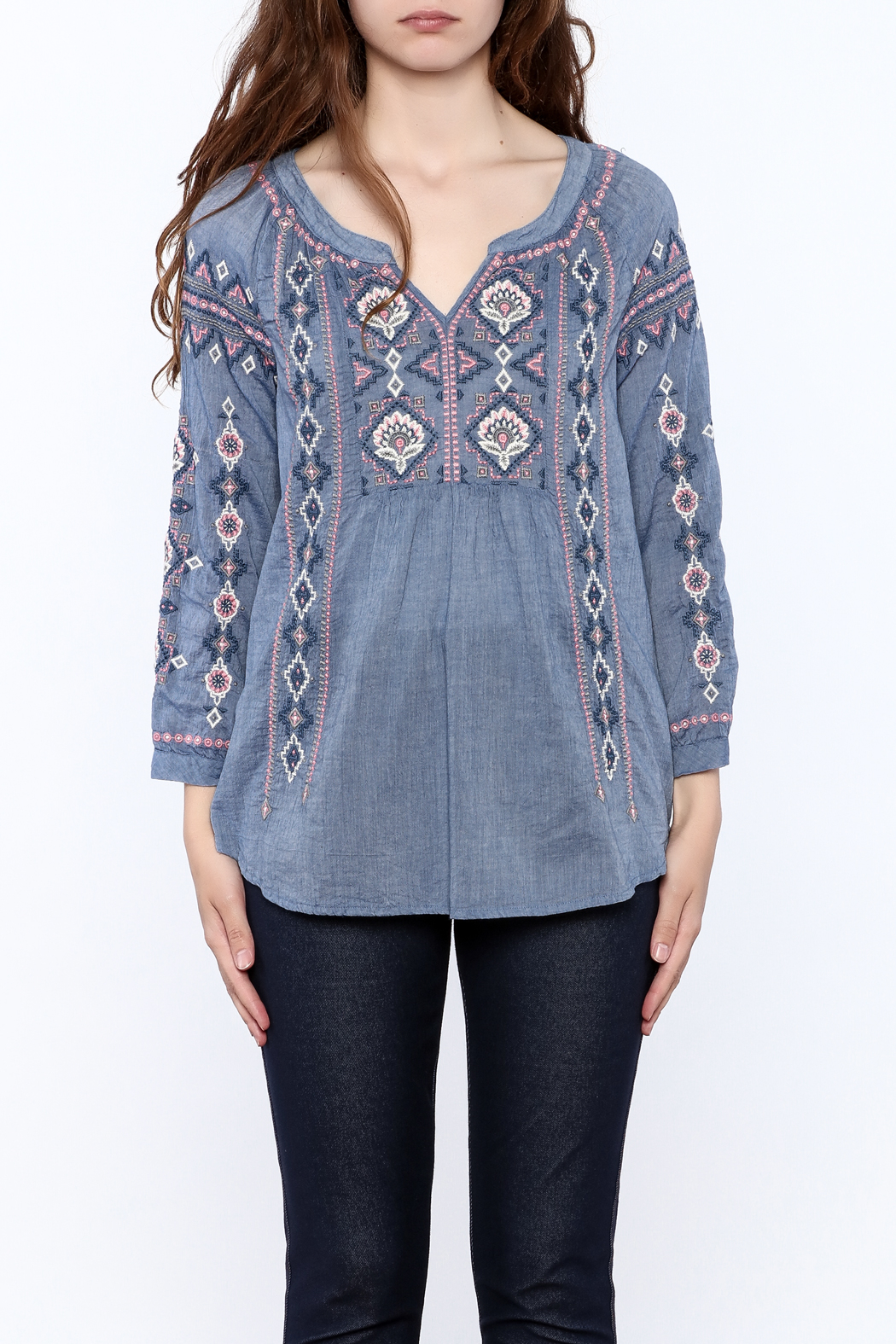 Johnny Was Washed Blue Tunic Top - Side Cropped Image