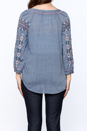 Johnny Was Washed Blue Tunic Top - Back cropped
