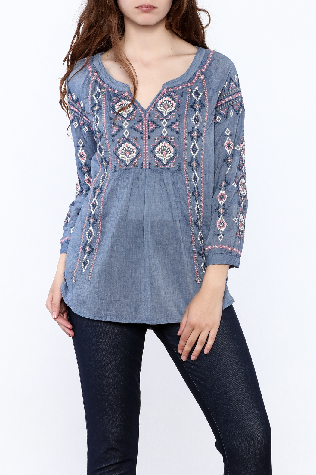 Johnny Was Washed Blue Tunic Top - Main Image