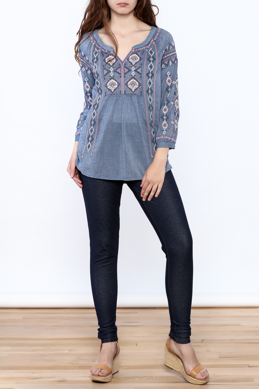 Johnny Was Washed Blue Tunic Top - Front Full Image