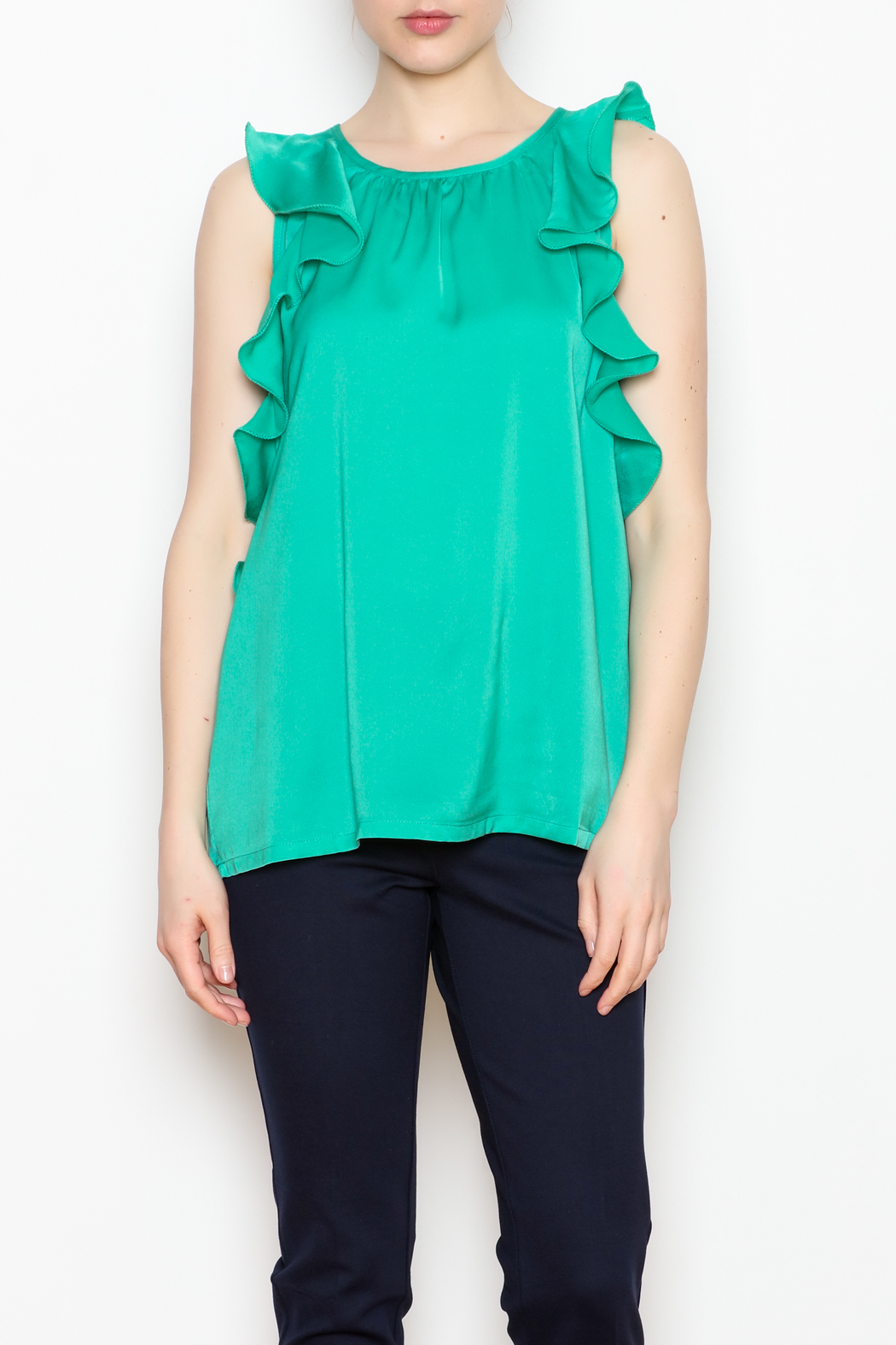 Jade Ruffle Edged Top - Front Cropped Image
