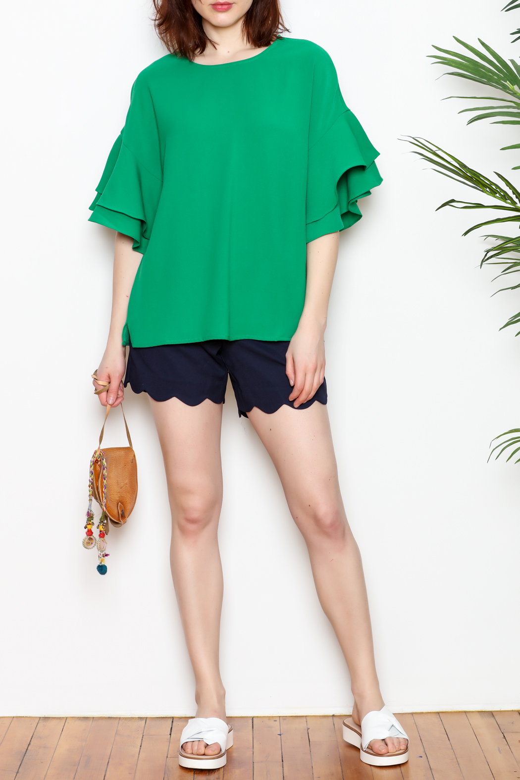 Jade Shorts Scallop Hem - Front Cropped Image