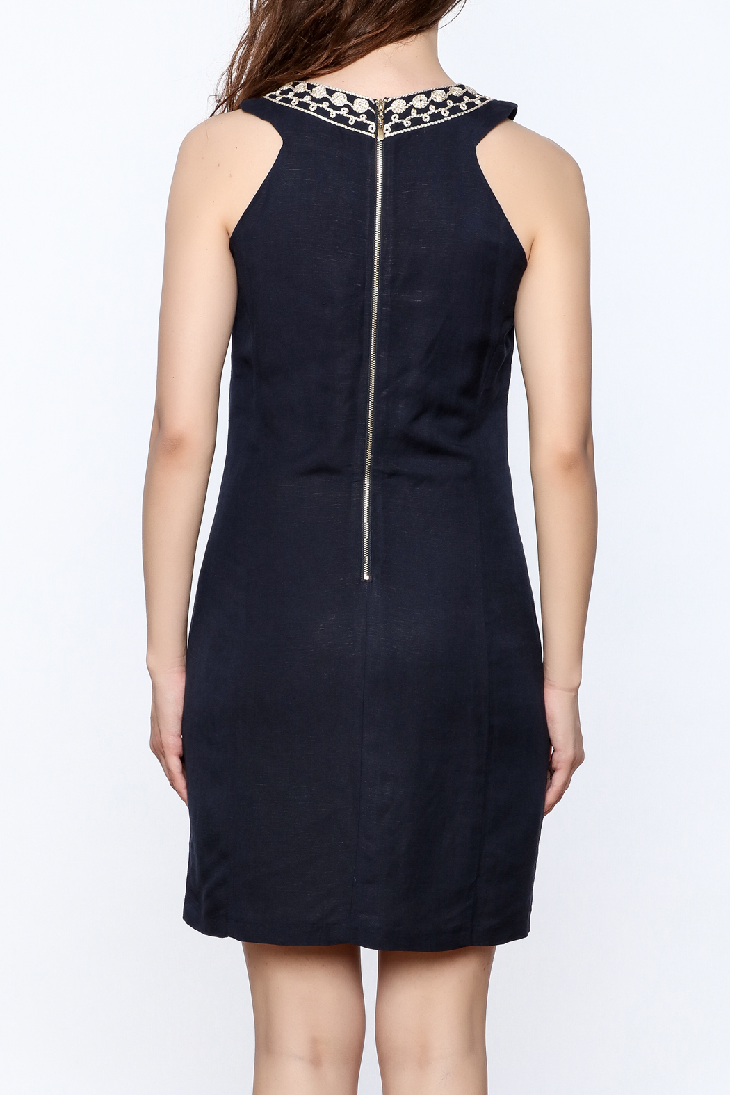 Jade Navy Embroidered Shift Dress - Back Cropped Image