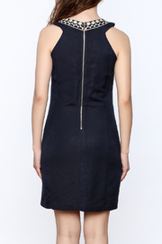 Jade Navy Embroidered Shift Dress - Back cropped