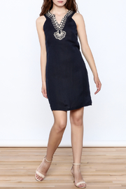 Jade Navy Embroidered Shift Dress - Front full body