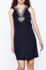 Jade Navy Embroidered Shift Dress - Product Mini Image