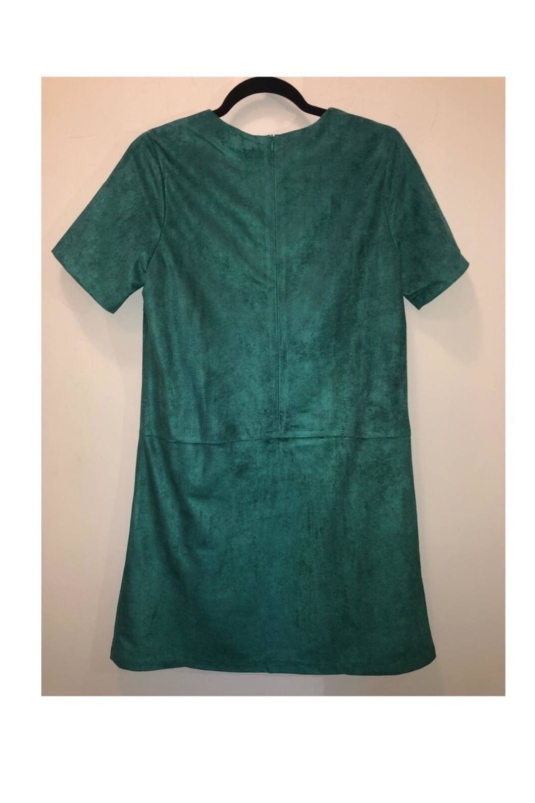 Jade Suede Green Dress - Front Full Image