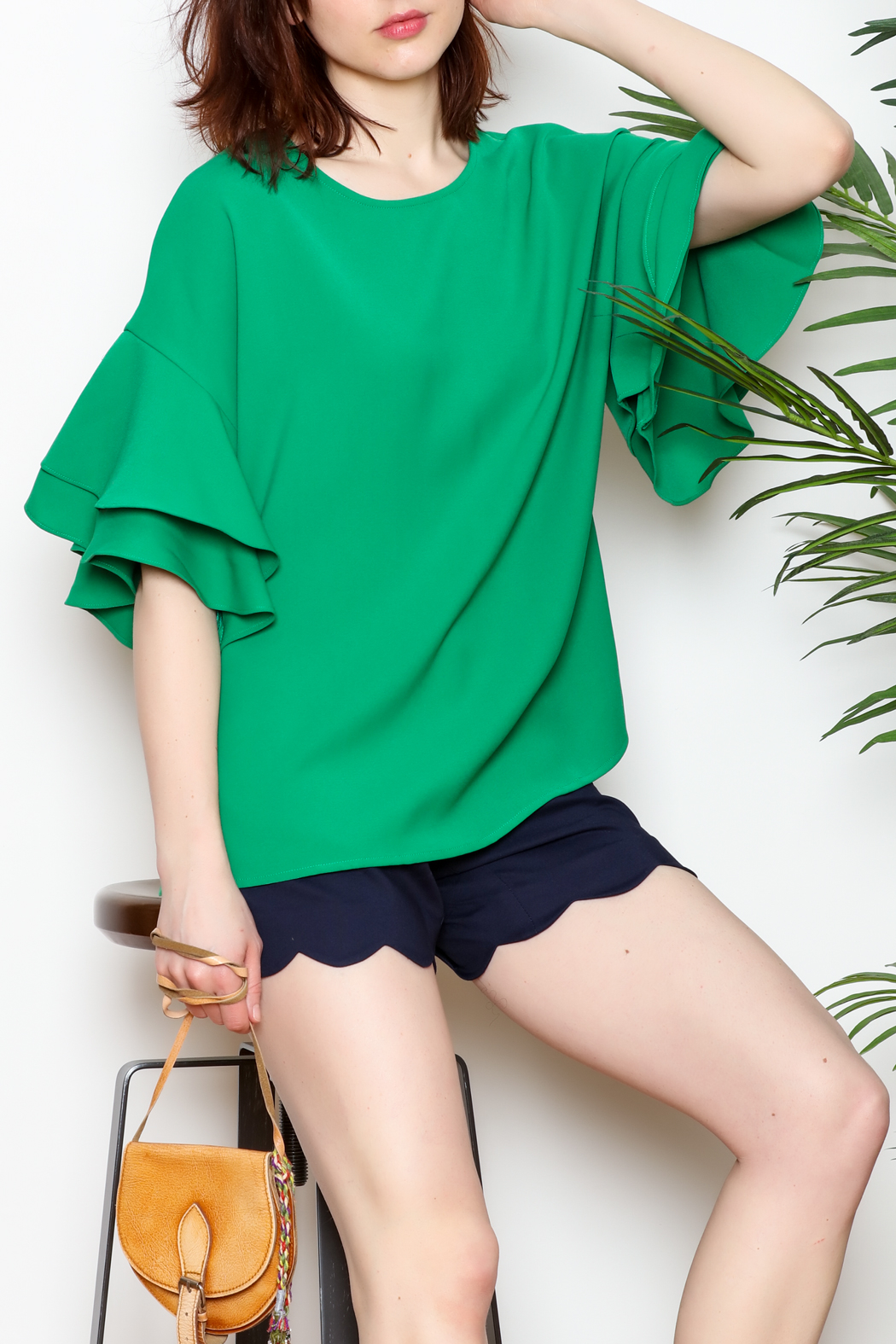 Jade Trumpet Sleeve Top - Front Full Image