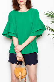 Jade Trumpet Sleeve Top - Front cropped