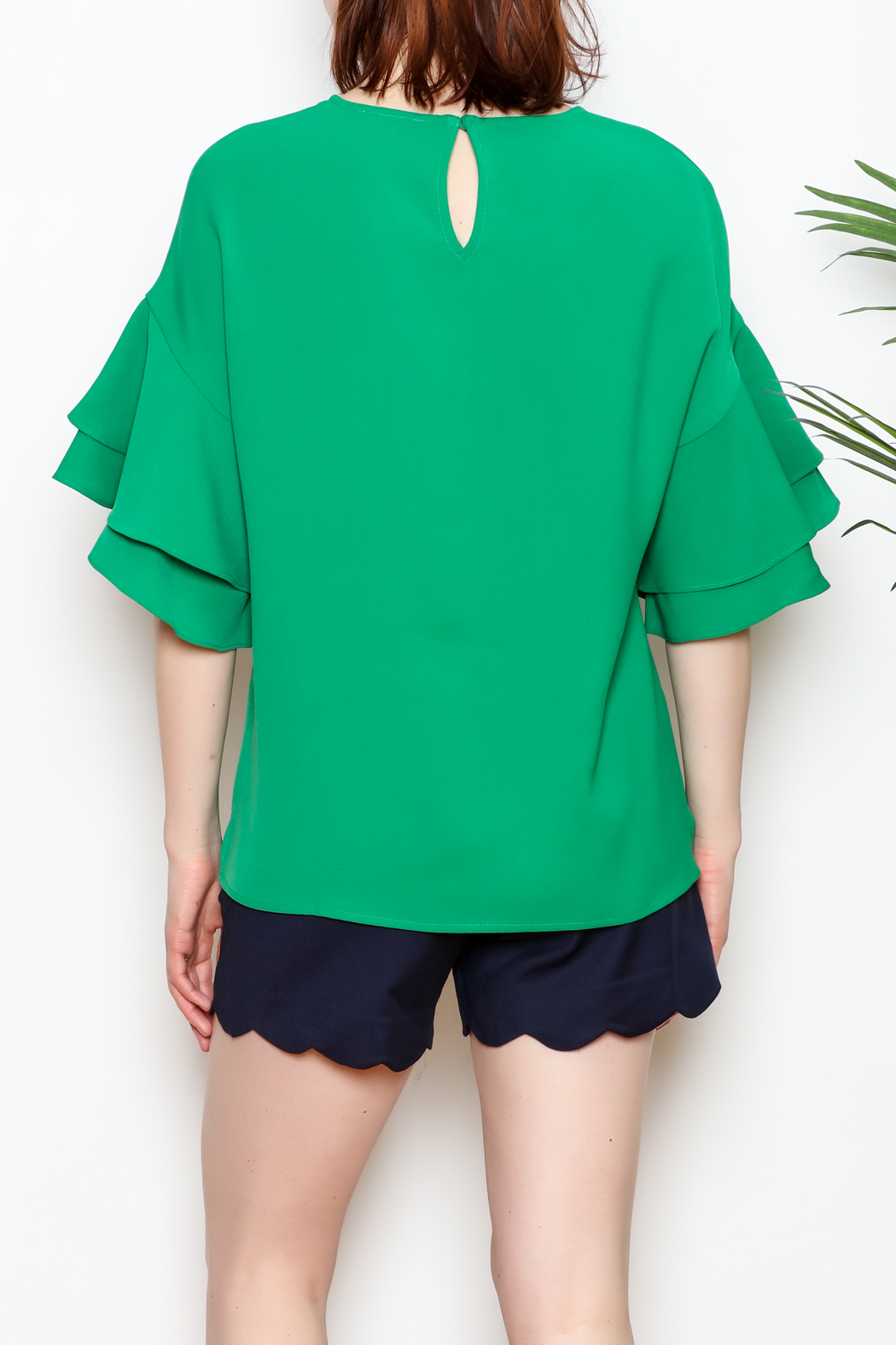 Jade Trumpet Sleeve Top - Back Cropped Image