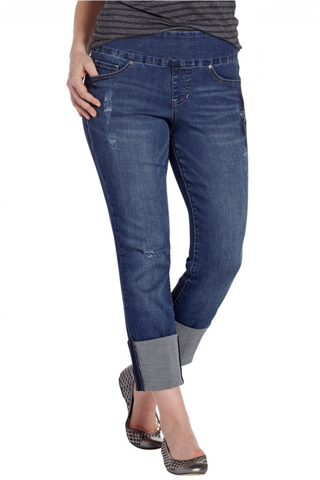 JAG Cuffed Distressed Jeans - Main Image