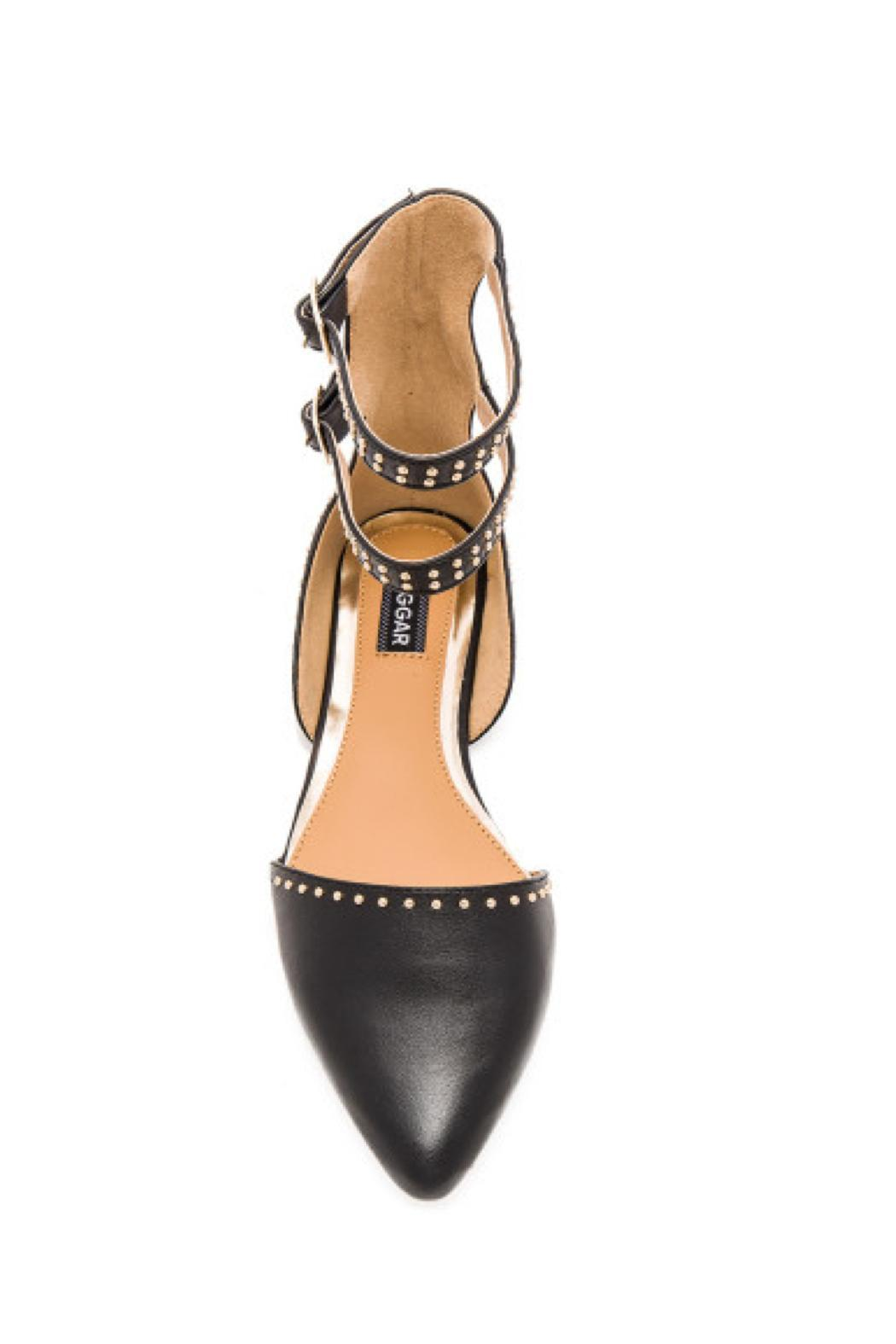 Jaggar Footwear Studded Aperture Flats - Front Full Image