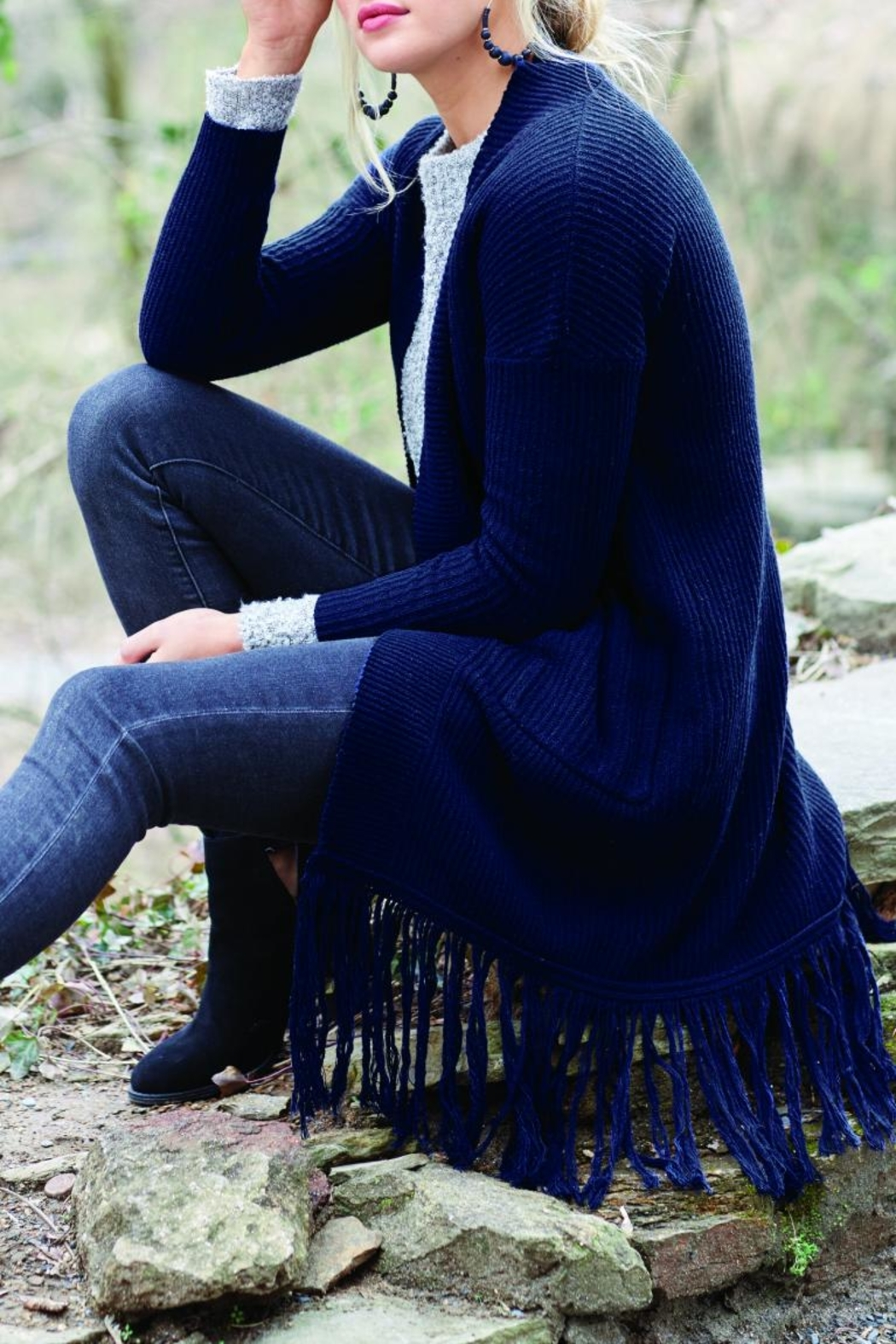 Mud Pie Jagger Fringed Cardigan - Main Image