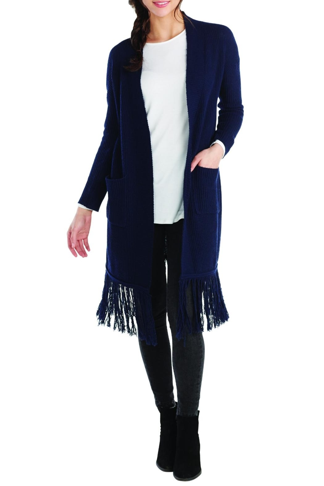 Mud Pie Jagger Fringed Cardigan - Front Full Image