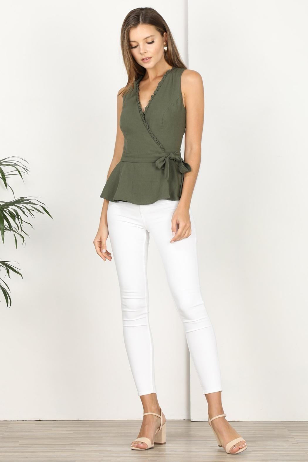 Adelyn Rae Jaime Woven Wrap Top - Side Cropped Image