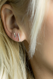 Jaime Nicole Gold Stud Earrings - Front full body