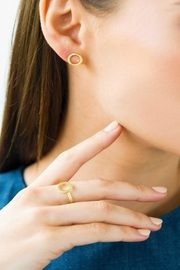 Jaimie Nicole Gold Circle Stud-Earrings - Front full body