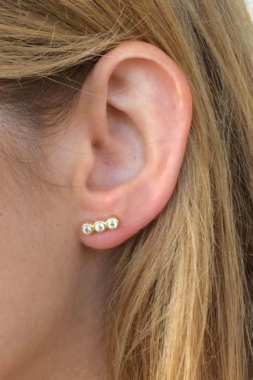 Jaimie Nicole Gold Cz-Stud Earrings - Front Full Image