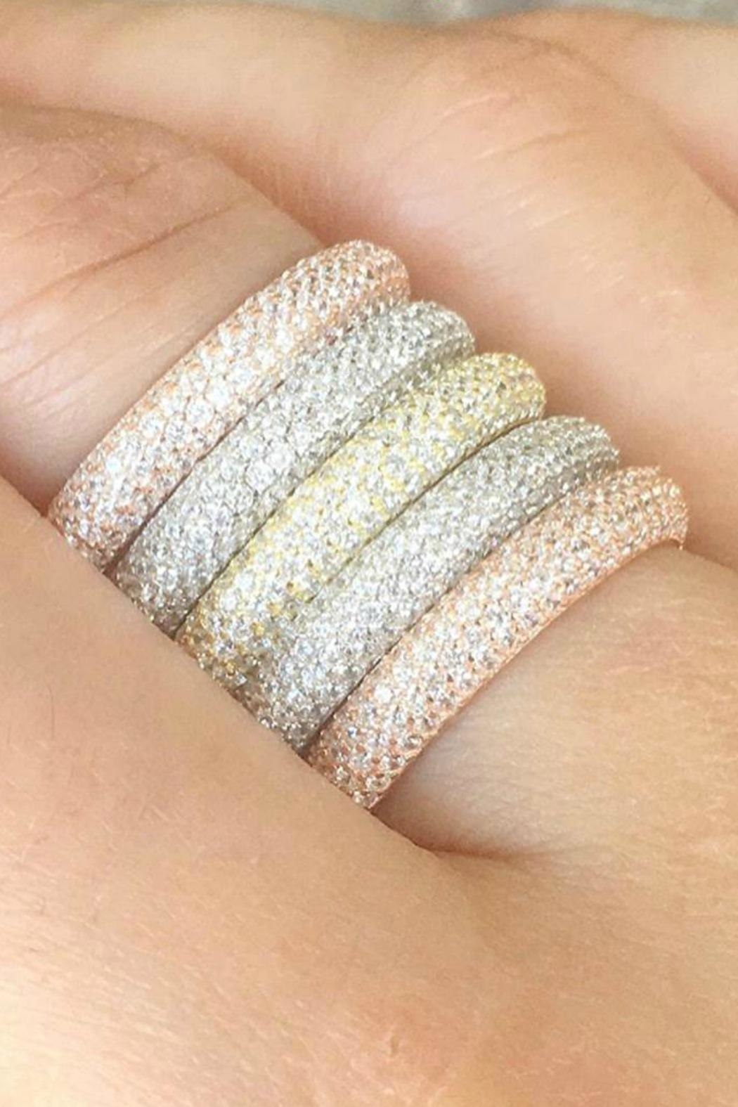 Jaimie Nicole Gold Pave Ring - Front Full Image