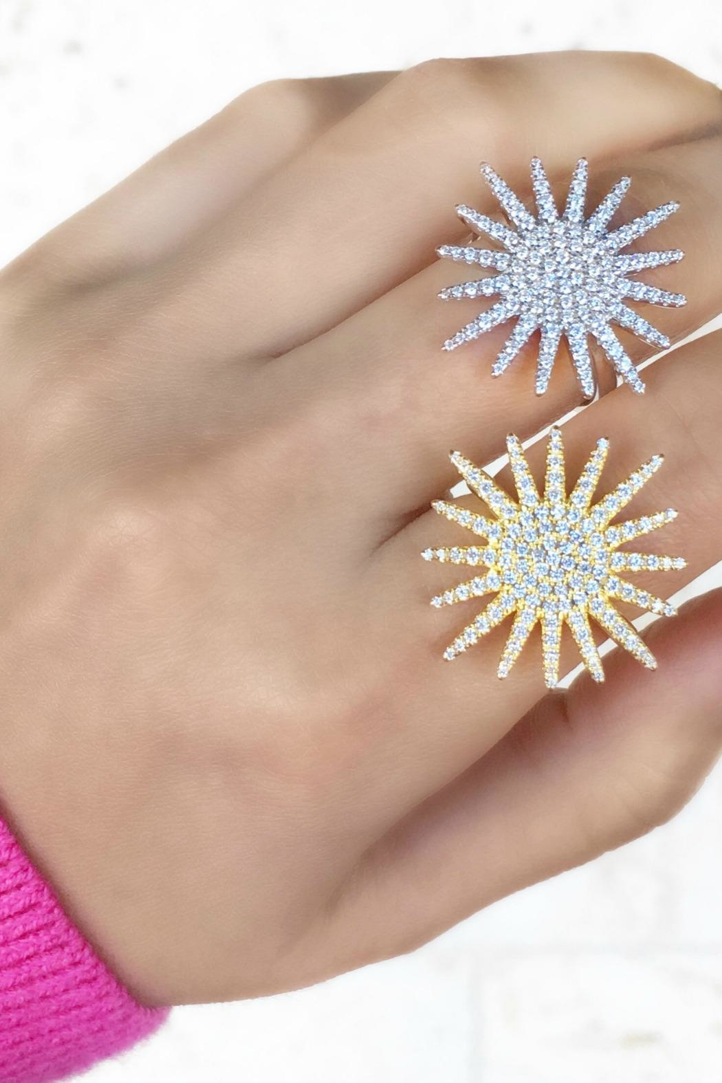 Jaimie Nicole Large-Gold Starburst Ring - Front Full Image