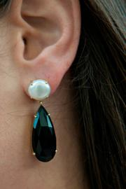 Jaimie Nicole Onyx and Pearl Earring - Front full body