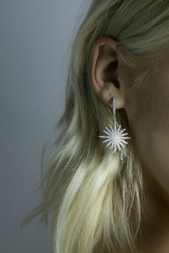 Jaimie Nicole Silver Starburst Drop Earrings - Alternate List Image
