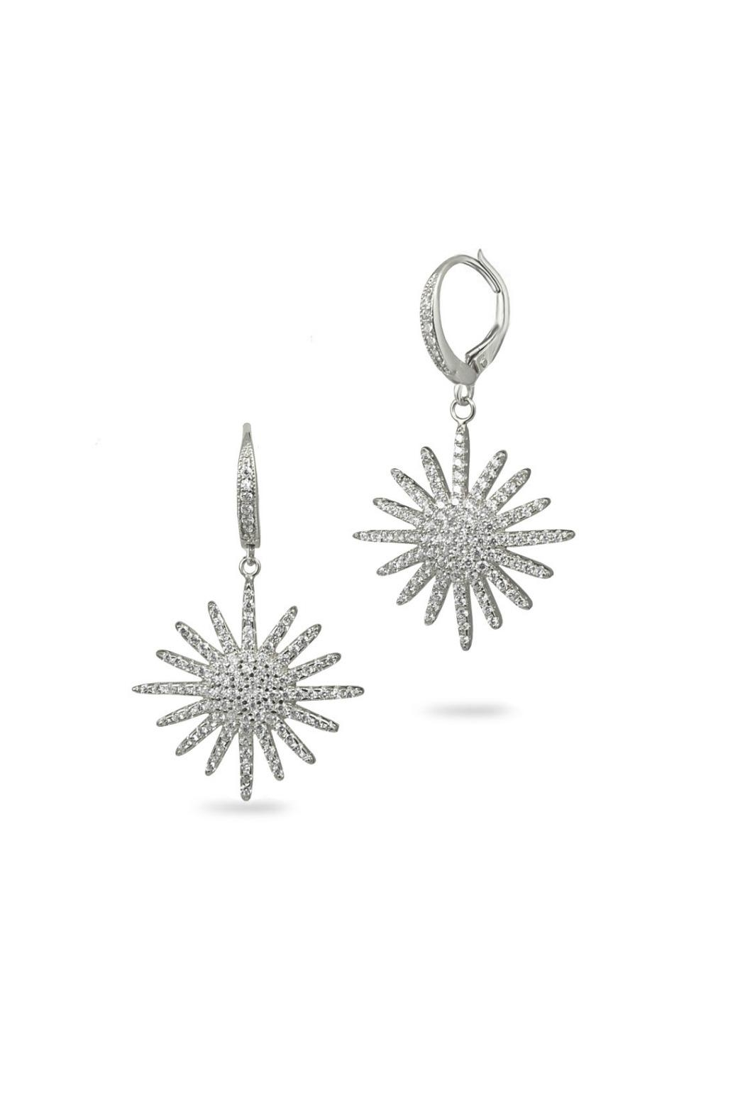 Jaimie Nicole Silver Starburst Drop Earrings - Front Cropped Image
