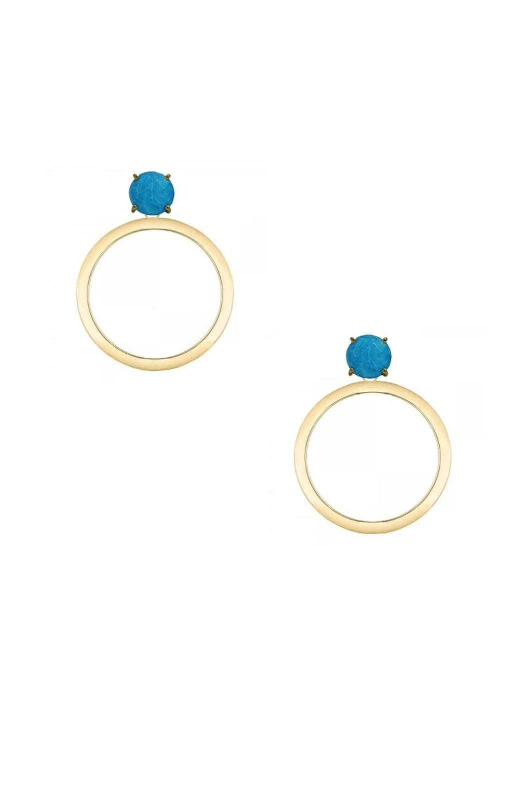 Jaimie Nicole Turquoise Hoop Earrings - Front Cropped Image