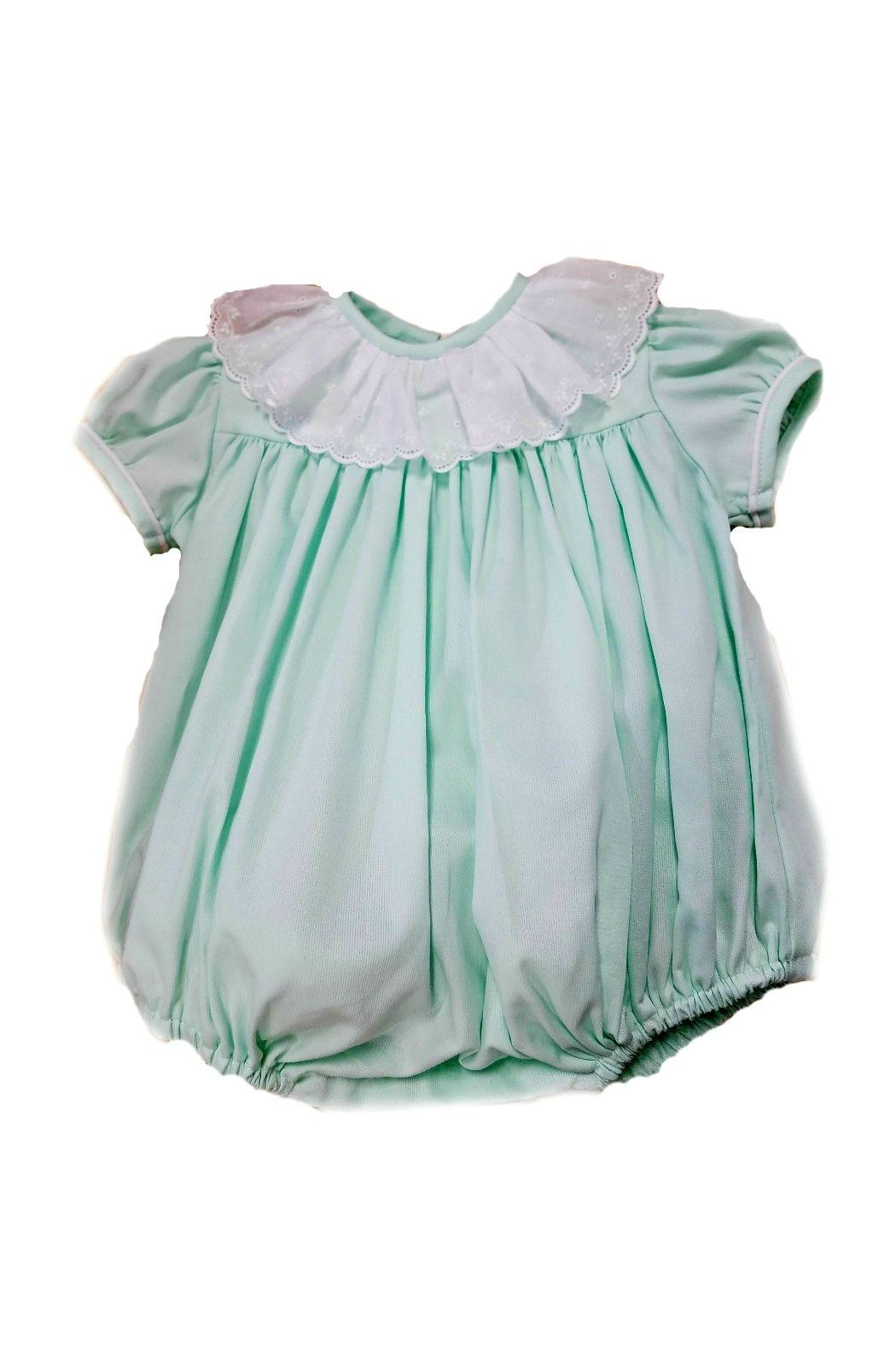 James & Lottie Fiona Seafoam-Green-White-Eyelet-Collar Bubble - Front Cropped Image